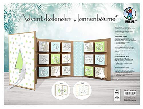 Ursus 17860002F – adventskalender boek dennenbomen, van kraftkarton, materiaal voor een adventskalender, inclusief decoratiepapier, satijnen lint en adventsnummers, ca. 22,4 x 16,1 x 5,3 cm.