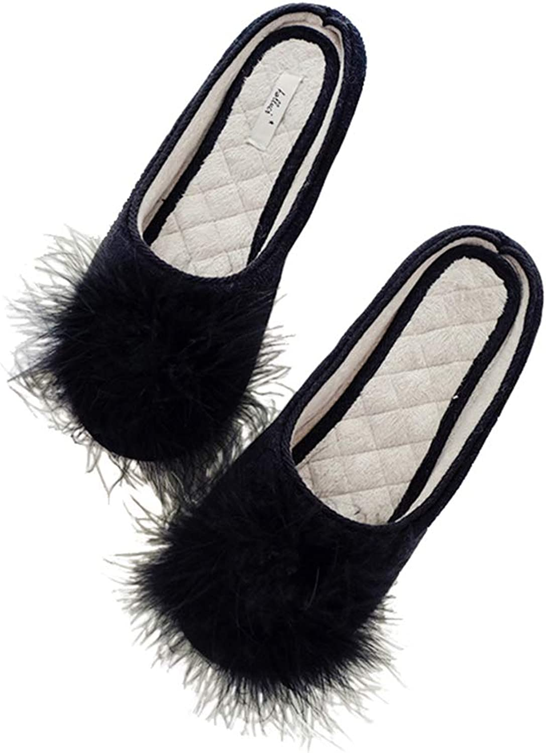 Winter Autumn Warm Women Pompon Slippers Comfortable Indoor House Plat Women Home shoes