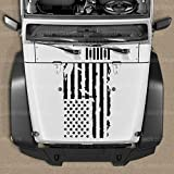Skull Daddy Graphics Distressed Flag Hood Decal Sticker to fit Jeep Wrangler JL JK JKU 2007-2020 (Matte Black Reversed)