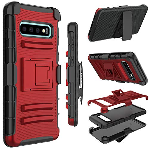 Zenic for Galaxy S10 Case, Heavy Duty Shockproof Holster Protective Case with Swivel Belt Clip Kickstand Compatible for Samsung Galaxy S10 6.1 inch(Red)