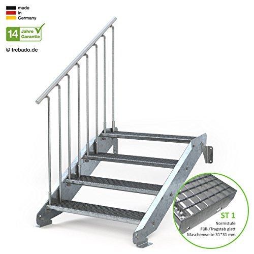 Außentreppe 4 Stufen 100 cm Laufbreite - ohne Geländer - Anstellhöhe variabel von 62 cm bis 84 cm - Gitterroststufe ST1 - feuerverzinkte Stahltreppe mit 1000 mm Stufenlänge als montagefertiger Bausatz
