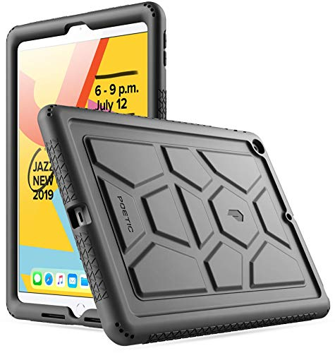 Poetic TurtleSkin Series Case Designed for iPad 10.2 7th Generation 2019 / 8th Generation 2020 Case, Heavy Duty Shockproof Kids Friendly Silicone Case Cover, Black