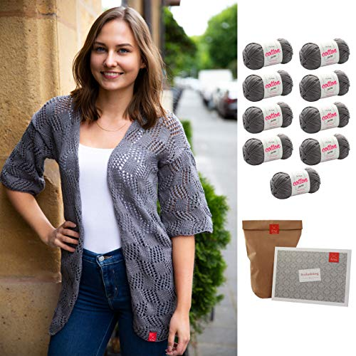 MyOma Cardigan Stricken -DIY Sommercardigan- Strickset Sommer mit 9 Knäuel Baumwolle Cotton Pure + GRATIS Label + Strickanleitung – Strickpaket – Strickpackung – Strickset Cardigan