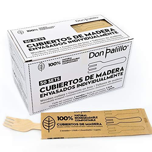 DON PALILLO - 50 tenedores de madera desechables enfundados individualmente.50 tenedores de...