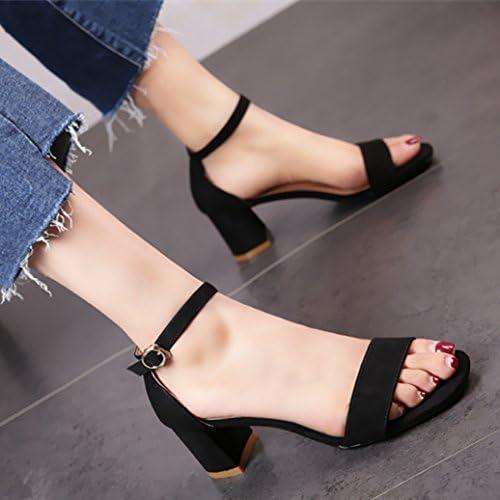 YMFIE Chaussures de Travail pour Femme la Mode d'été en Daim Le tempéraHommest et Les Chaussures à Talons Hauts Sandales Toe.