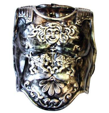 Corazza adulto di plastica avanti e dietro armatura soldato romano color ferro