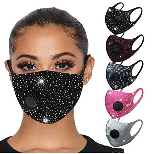 Erwachsene Mundschutz Multifunktionstuch mit Atemventil, Glitzer-Strass Maske, Weiche Atmungsaktive Eisseide Stoffmaske Waschbar Wiederverwendbar Staubdicht Mund-Nasenschutz Bandana Halstuch