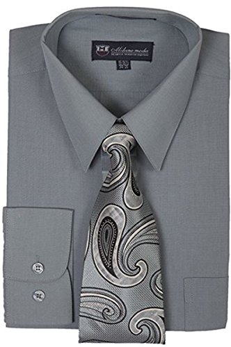 """Milano Moda Men's Long Sleeve Dress Shirt With Matching Tie And Handkerchief SG21A, Charcoal, 15""""-15.5"""" Neck 34""""-35"""" Sleeve"""