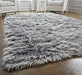 Gorilla Grip Original Premium Faux Fur Area Rug, 4x6, Softest, Luxurious Shag Carpet Rugs for Bedroom, Living Room, Luxury Bed Side Plush Carpets, Rectangle, Gray