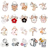 40 Pieces Mix Alloy Resin Rhinestone Flowers Charms Mix Alloy Enamel Flower Pendants Charms Beads Bracelet Necklace Jewelry Findings