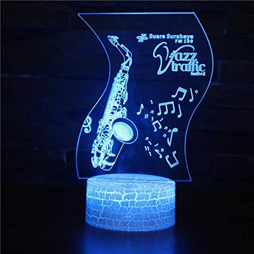 PEJHQY Klavier Orgel Saxophon Gitarre Note Percussion Drum 7 Farbe Lampe 3d visuelle LED Nachtlicht Kinder Touch USB Tischbeleuchtung