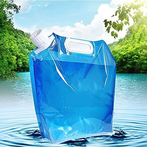 WWJQ Bolsa de Agua Plegable y Durable, Camping Senderismo Picnic BBQ Recipiente de Agua para Auto de Transparente, Paquete de 2 Deposito Agua de Plástico Ligero, Azul