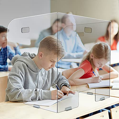 12Pack Sneeze Guard Desk Shield(23.2'W x 23.2'H x 17.3'D) Large Clear Plexiglass Shield Divider for Desk - Trifold Folding Protective Barrier Shields for Student/Classroom/School/Office