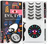 DYSILK Upgraded Magnetic Eyelashes with Magnetic Eyeliner Kit 7 Pairs Magnetic Lashes with 2 Tubes of Magnetic Eyeliner Reusable Eyelashes Fluffy Natural Look Tweezers Mirror Case No Glue-Evil Eye Style