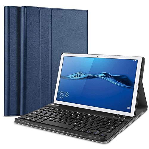 QYiD Funda con Teclado para Huawei MediaPad M5 8.4, Carcasa Delgada Teclado Estuche Funda con Wireless Teclado Bluetooth para 8.4' Huawei MediaPad M5 8.4 Android Tablet, Azul