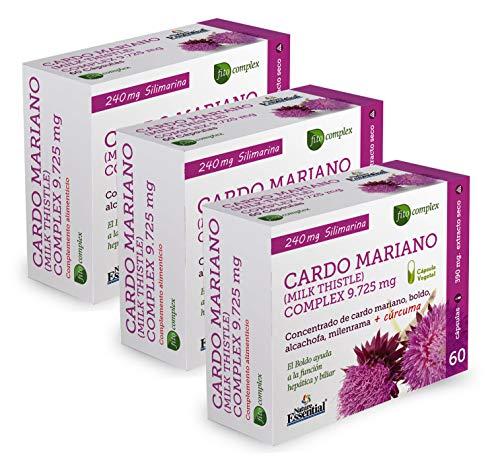 Cardo mariano complex 9.725 mg 60 cápsulas con boldo, milenrama, alcachofa y cúrcuma. (Pack 3 unid.)