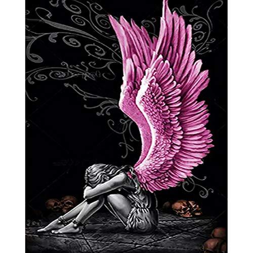 Tuankay Kit de pintura de diamante 5D DIY Angel Wings Full Round Drill Picture Handicraft