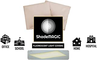 ShadeMAGIC Fluorescent Light Filter Covers - Diffuser Pack; Eliminate Harsh Glare That Causes Eyestrain and Head Strain The The Classroom or at Office. (2)