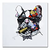 Pintura pintada a mano de un Bulldog usar gafas de sol sobre lienzo enmarcado para decorar la pared y listo para colgar lona 24x24in