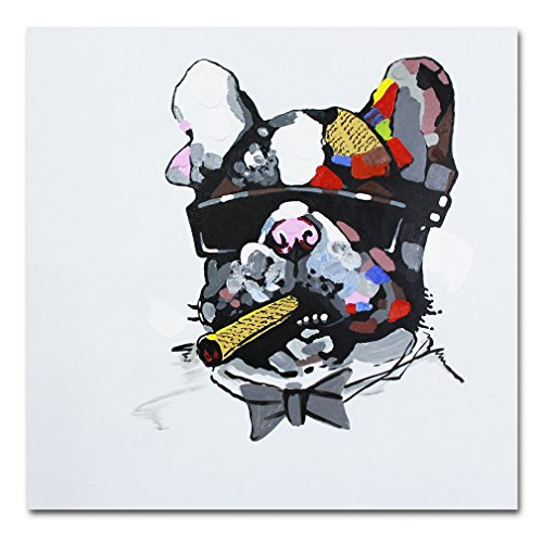 Pintura pintada a mano de un Bulldog fumando un puro sobre lienzo enmarcado para...