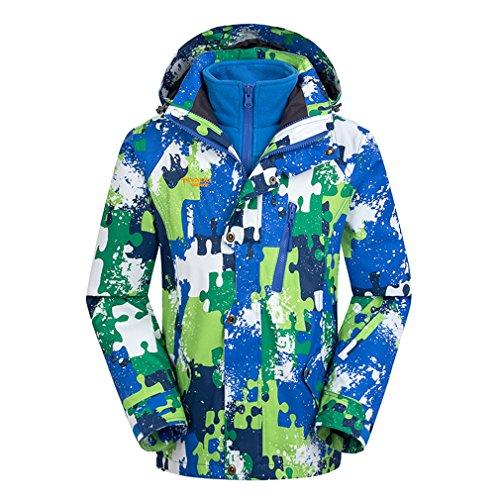 CIKRILAN Enfants 3 en 1 Coupe-Vent Capuche Imperméable Outdoor Sport Veste de Camping Randonnée Escalade Manteau (Size 160, Bleu)