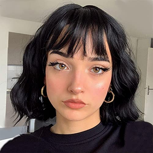 Stamped Glorious Short Wavy Black Bob Wig with Bangs Synthetic Short Wavy Wigs for Women Wavy Black bob Wig with Bangs Synthetic Heat Resistant Wigs(12 inch)