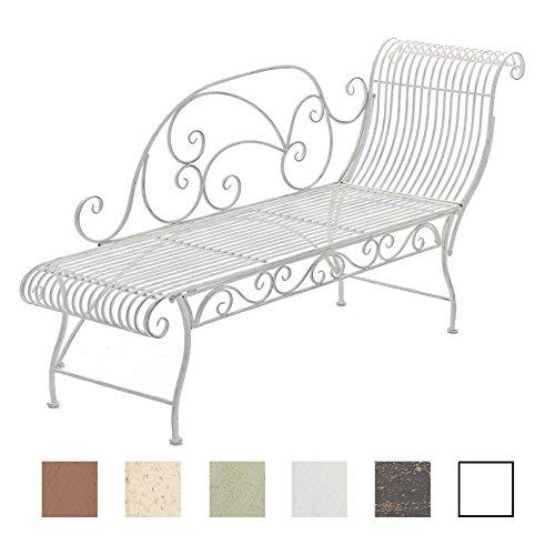 CLP Banc de Jardin Karma en Fer Forgé - Banc avec Récamière - Banquette de Jardin Style Romantique - Chaise Longue de Jardin en Fer - Couleur: Blanc