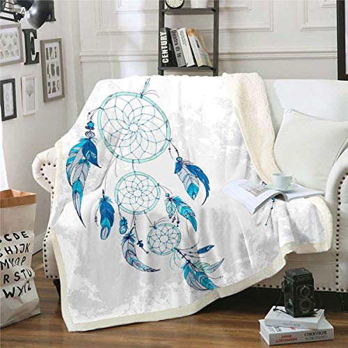 Manta bohemia de sherpa, atrapasueños, decoración, manta de forro polar para niños y niñas, manta de felpa de plumas indias teñidas grises, manta difusa para sofá cama, bebé 76 x 100 cm