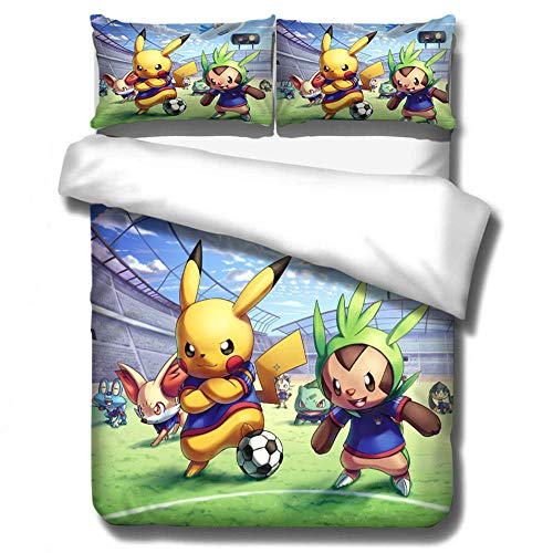 AmenSixye 3D Cartoon Printed Bedding Suit Pokemon Pikachu Quilt Cover Bed Spead Child Kid Bedroom Bed Duvet Cover Bedclothes,150x200cm(3pcs)