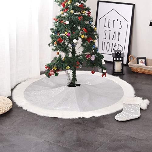 Faldas para el árbol Plata Navidad Decoración de la Base del Árbol de Navidad,106cm