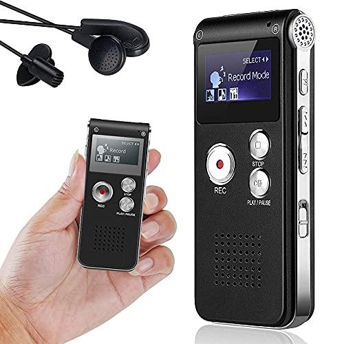 Grabadora de voz digital de 8 GB, grabadora de audio y reproductor MP3, dictáfono recargable LCD portátil grabadora de sonido para reuniones, entrevistas y conferencias