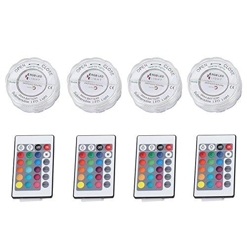 Unterwasserlicht, 4 Satz LED RGB Lichter mit Wasserdichte Fernbedienung 16 RGB-Farben für Lampe Hochzeit Vase Decor