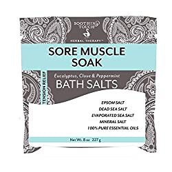 Soothing Touch Sore Muscle Soak Bath Salts Pouch, Peppermint, 8 Ounce