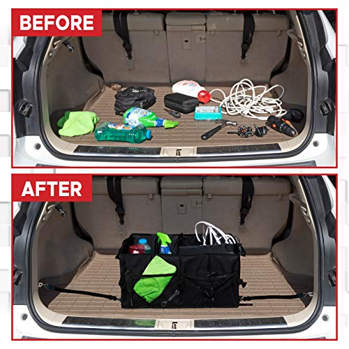 EcoNour Car Trunk Storage Organizer  Collapsible Grocery Storage Container Bin with Pockets  Easily Expandable Folding Compartments Suit for Any vehicles  Portable Cargo Carrier for Car Truck SUV Van