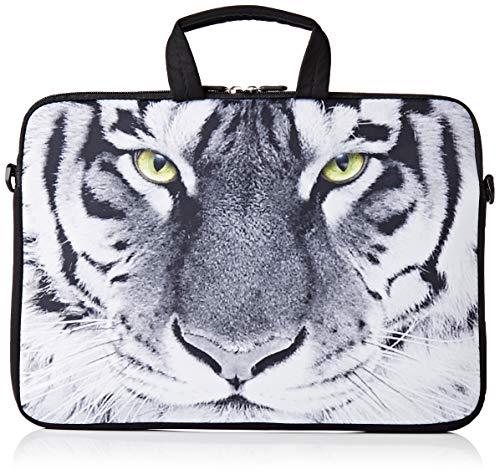 Ektor - Funda Blanda Tipo Bolsa para portátil de 10-17,6' con Correa de Hombro Blanco White Tiger 10' (Actual Size: 210x270mm)
