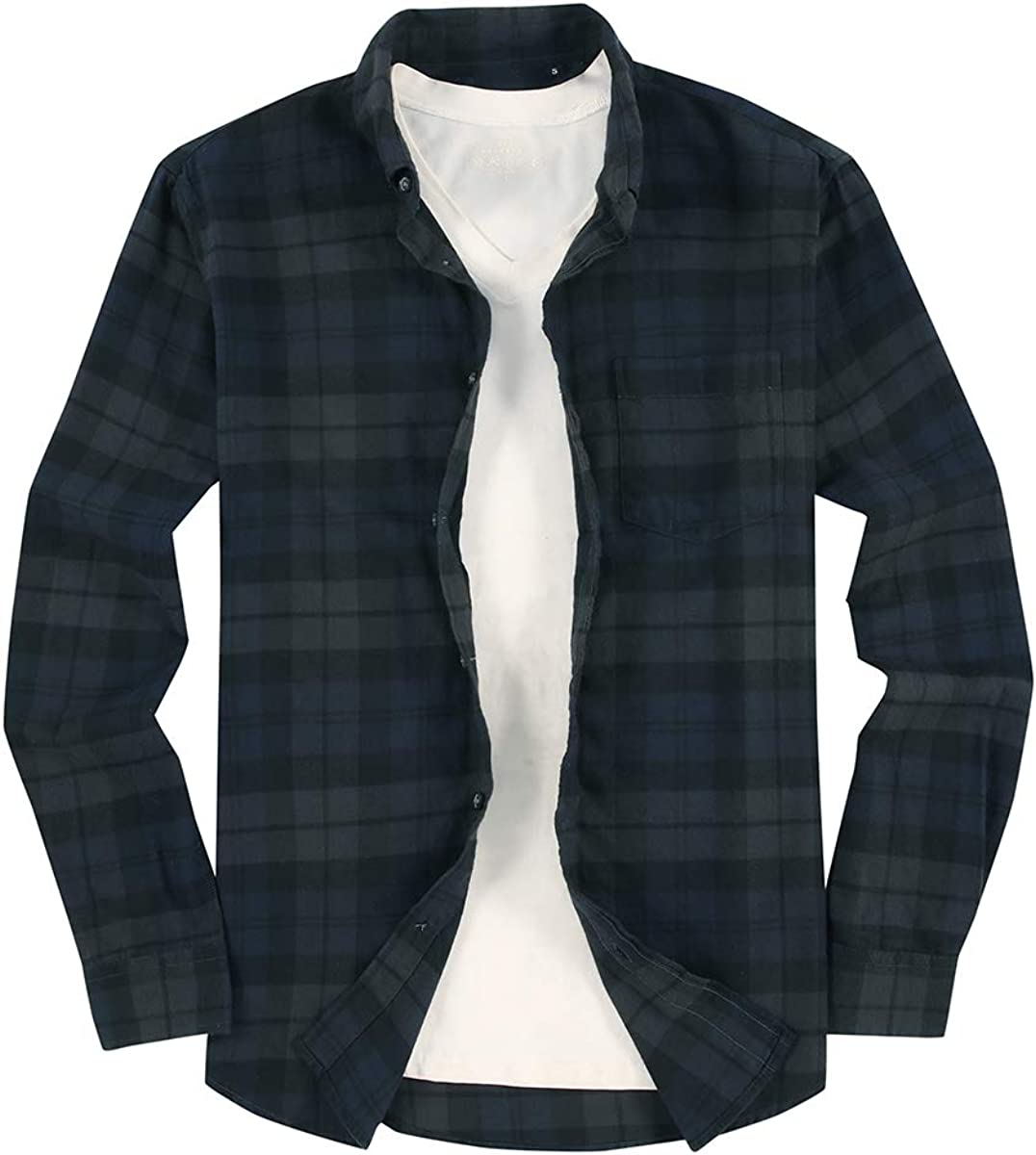 Mens Button Down Shirt Regular Fit Flannel Limited time cheap sale Sleeve Plaid Free shipping Cas Long