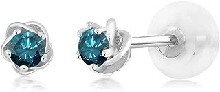 0.20 Ct Round Blue Diamond 10K White Gold Stud Flower Earrings