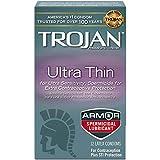 Trojan Condom Sensitivity Ultra Thin Spermicidal, 12 Count (Packaging May Vary)