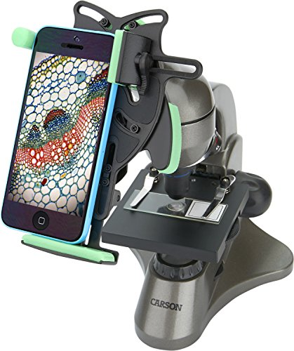 Carson Beginner 40x-400x Compound Student Microscope with Universal Smartphone Optics Digiscoping Adapter (MS-040UN)