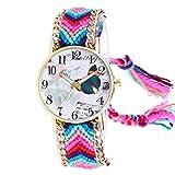 Dosige Hecho a Mano Bricolaje Mariposa Reloj étnico Viento Trenzado Pulsera Reloj Ms(#4)