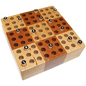 Elbert Mini Wooden Travel Sudoku Board Game Set with Wood Peg Pieces, 5 x 5 Inch