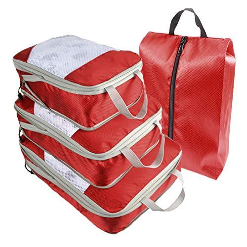 旅行 圧縮バッグ 4点セット トラベル 圧縮袋 トラベルポーチ 収納 圧縮 バッグ ファスナー 大容量 衣類 仕分け 軽量 撥水 旅行 出張 整理 ダブルジップ シューズ袋 S&E (レッド)