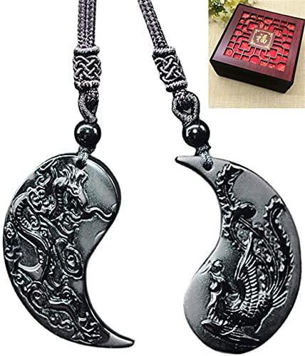 Collares Con Colgante De DragóN Y FéNix Yin Yang Para Parejas, Collar Auspicioso De Obsidiana Tai Chi