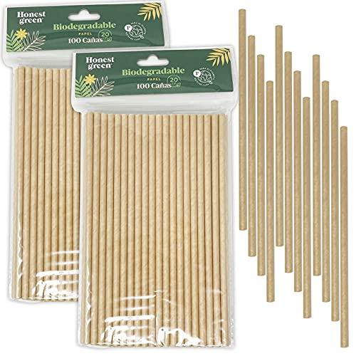Eco Natural 200 Pajitas de Papel Desechables 20 cm x 6 mm, 100% Ecológico, Reciclable y Biodegradable, Libre de BPA, Color Marrón