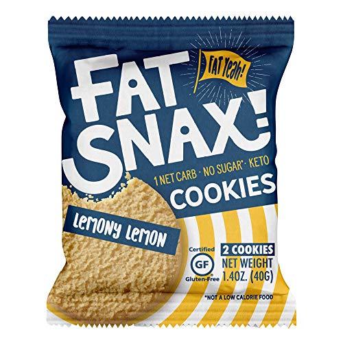 Fat Snax Cookies - Low Carb, Keto und Zuckerfrei (Lemony Zitrone, 12er Pack (24 Cookies)) - Keto Freundlich & Glutenfreie Snacks
