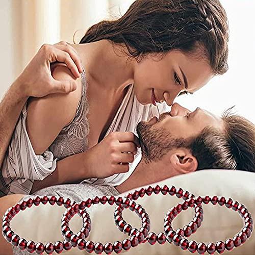 4 pulseras de granate, cuentas redondas de cornalina rojas, de 6 mm, pulsera de curación elástica, alivio del estrés, yoga, reiki, pulsera de triple protección y pulsera de chakra