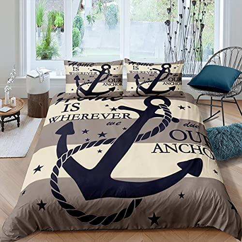 Anchor - Juego de funda de edredón para cama de tamaño super king (3 unidades, para niños, adolescentes, barco, cadena de anclaje, con líneas, funda de edredón con 2 fundas de almohada (sin edredón)