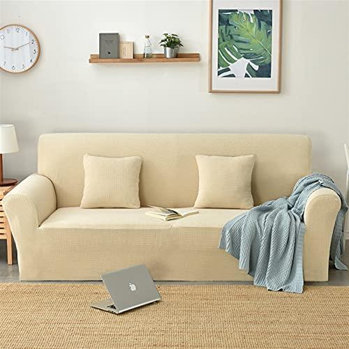Jacquard Stoff Sofa Abdeckung für Wohnzimmer, Weiche Couch Abdeckung Stretch Slipcover Big Elastic Dehnungsschutz (Color : Cream, Specification : 3 Seat 175-210cm)