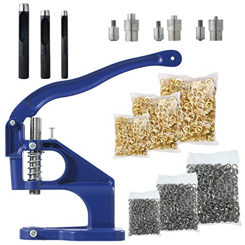 """Hand Press Grommet Machine Kits with 3 Dies,1500 Golden & 1500 Silver Grommets(Size 1/4"""", 3/8'', 1/2''),Hole Punch Tool (6mm,10mm,12mm),Hole Making for Leather Craft Curtains Tents"""