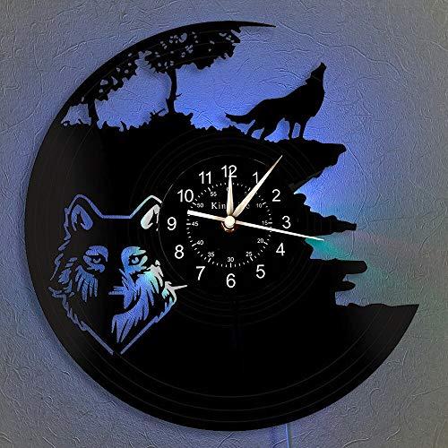 xcvbxcvb Reloj de Pared LED de Vinilo Wild Wolf, Reloj de Pared LED Vintage Hecho a Mano para decoración de Interiores, Reloj de Dibujos Animados para niños y Amigos.